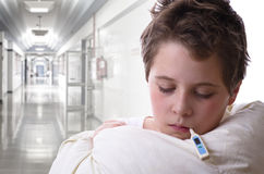 Sick child in hospital Royalty Free Stock Image
