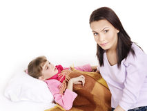 Sick child with mother. Isolated. Royalty Free Stock Image
