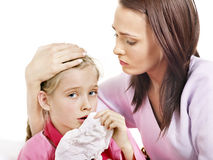 Sick child with mother. Isolated. Stock Images