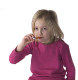 Sick Child With Thermometer Stock Images