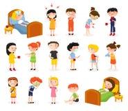 Sick Children Doodle Set Stock Images