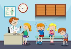 Sick children wait to see doctor royalty free illustration