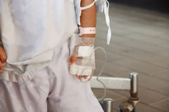 Sick children. Children were blood IVs in the hospital stock photography