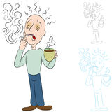 Sick From Coffee and Cigarettes. An image of a man sick from coffee and cigarettes Royalty Free Stock Photos