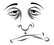 Sick With Cold or Flu Face. A black and white clip art illustration of the face of a man who is sick with the flu or a cold. Bloodshot eyes, sad frown and