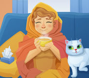 A sick cold woman f with a cup of hot tea sitting on the sofa with a white cat. Cartoon vector illustration Stock Photos