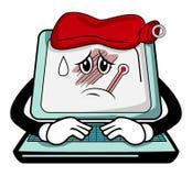 Sick computer cartoon Royalty Free Stock Photos
