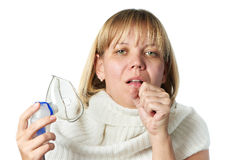 Sick cough woman holding inhaler isolated Royalty Free Stock Image