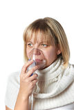 Sick cough woman using inhaler mask isolated Stock Image