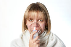 Sick cough woman using inhaler mask isolated Royalty Free Stock Photography
