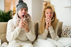 Sick couple catch cold. Stock Photo