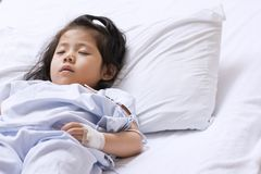 The sick cute Asian girl is recovering sleep on white patient be. D in the hospital. With space for text Stock Photo