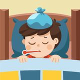 Sick cute boy sleep in bed. Sick cute boy sleep in bed with a thermometer in mouth and feel so bad with fever Royalty Free Stock Images