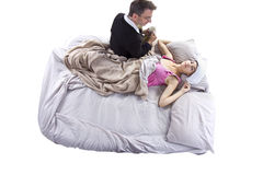 Sick Daughter. Father taking care of his sick teenage daughter Stock Photography