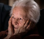 Sick depressed old woman Royalty Free Stock Photo