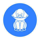 Sick dog vector icon in black style for web Stock Photo