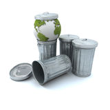 Sick earth in the dustbin. Sick earth thrown away in the dustbin royalty free stock image