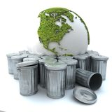 Sick earth in the dustbin. Sick earth thrown away in the dustbin; The world globe is oriented to America, should you want the same image oriented to Europe, you stock illustration