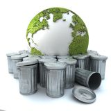 Sick earth in the dustbin. Sick earth thrown away in the dustbin; The world globe is oriented to Europe, should you want the same image oriented to America, you vector illustration