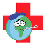 Sick earth over a red cross. Cartoon character sick earth over a red cross Royalty Free Stock Photos