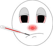 Sick emoji with red nose and thermometer caught a cold and isn`t feeling good. Emoji having a cold with red running nose and thermometer in his mouth Stock Photo