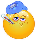 Sick emoticon. Design of a sick emoticon with a thermometer stock illustration