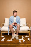 Sick with the Flu. This image shows a man sick with the flu/cold Royalty Free Stock Photography