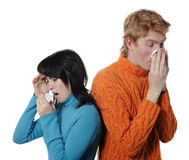 Sick flu man and woman, sneeze on each other, Royalty Free Stock Images