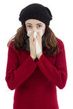 Sick flu woman sneezing Royalty Free Stock Images