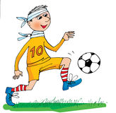 Sick football player, cartoon Royalty Free Stock Photo