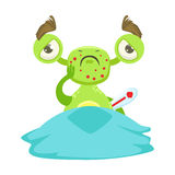 Sick Funny Monster With Fever In Bed, Green Alien Emoji Cartoon Character Sticker. Cute Fantastic Creature Emoticon Flat Vector Illustration Stock Photos