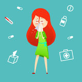 Sick girl. Allergy kid sneezing. Vector cartoon illustration. ill child with flu or virus. Health care concept. Running. Noise symptom. infographic poster Stock Photo