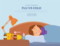 Sick girl in bed with the symptoms of cold, flu. Cartoon vector character on pillow with blanket and scarf, medicine, lemon, thermometer. Illustration of vector illustration