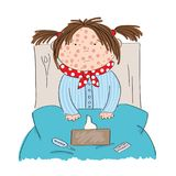 Sick girl with chickenpox, measles, rubeola or skin rash. Sitting in the bed with medicine, thermometer and paper handkerchiefs on the blanket - original hand Royalty Free Stock Image