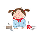 Sick girl with chickenpox, measles, rubeola or skin rash. Standing behind the table with hot tea, medicine, thermometer and paper handkerchief - original hand Royalty Free Stock Images