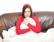 Sick girl with cold Royalty Free Stock Photography