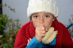 Sick girl. With a cold, coughing Royalty Free Stock Image