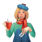 Sick girl. Cold. Medications, thermometer, cup of tea. Vector  illustration. Cartoon character Stock Photo
