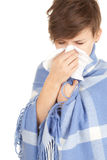 Sick girl with flu Stock Images