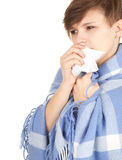 Sick girl with flu Royalty Free Stock Photography