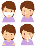 Sick girl with flu mask, thermometer and handkerchief Royalty Free Stock Images