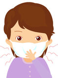 Sick girl with flu mask Royalty Free Stock Images