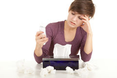 Sick girl with flu measuring temperature Stock Photo