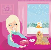 Sick girl lying in bed Stock Images