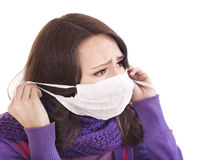 Sick girl in medical mask. Royalty Free Stock Images