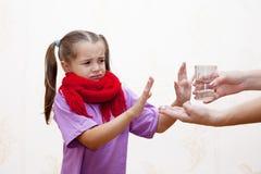 Free Sick Girl Refuses To Take The Medicine Stock Image - 44557831