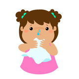 Sick girl runny nose . Stock Images