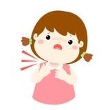 Sick girl sore throat cartoon . Royalty Free Stock Image