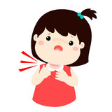 Sick girl sore throat cartoon . Sick girl sore throat cartoon  illustration Stock Photo