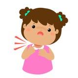 Sick girl sore throat cartoon . Stock Images